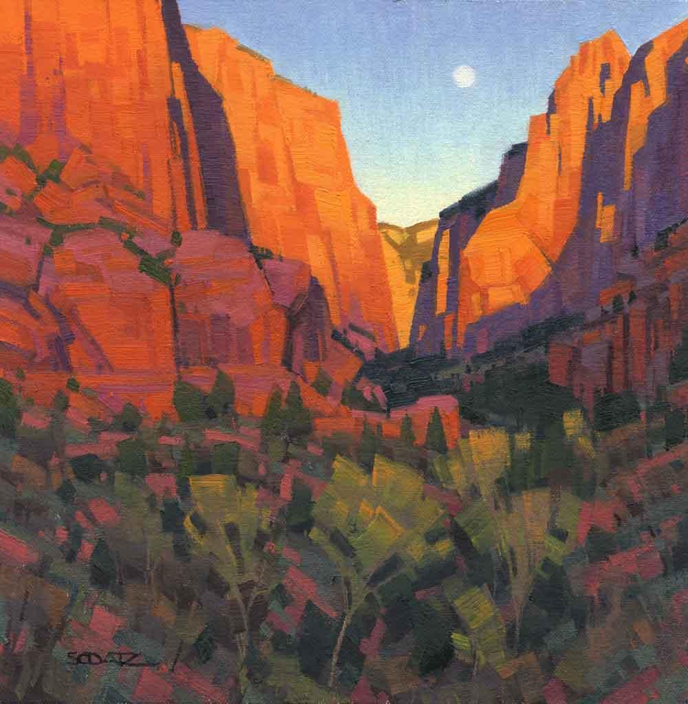 """Stephen C. Datz, Kolob Moonrise, Oil, 10"""" x 10"""""""