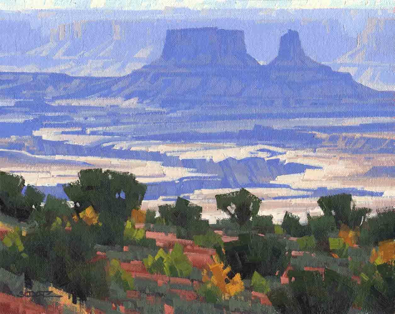 "Stephen C. Datz, White Rim Vista, Canyonlands, Oil, 8"" x 10"""