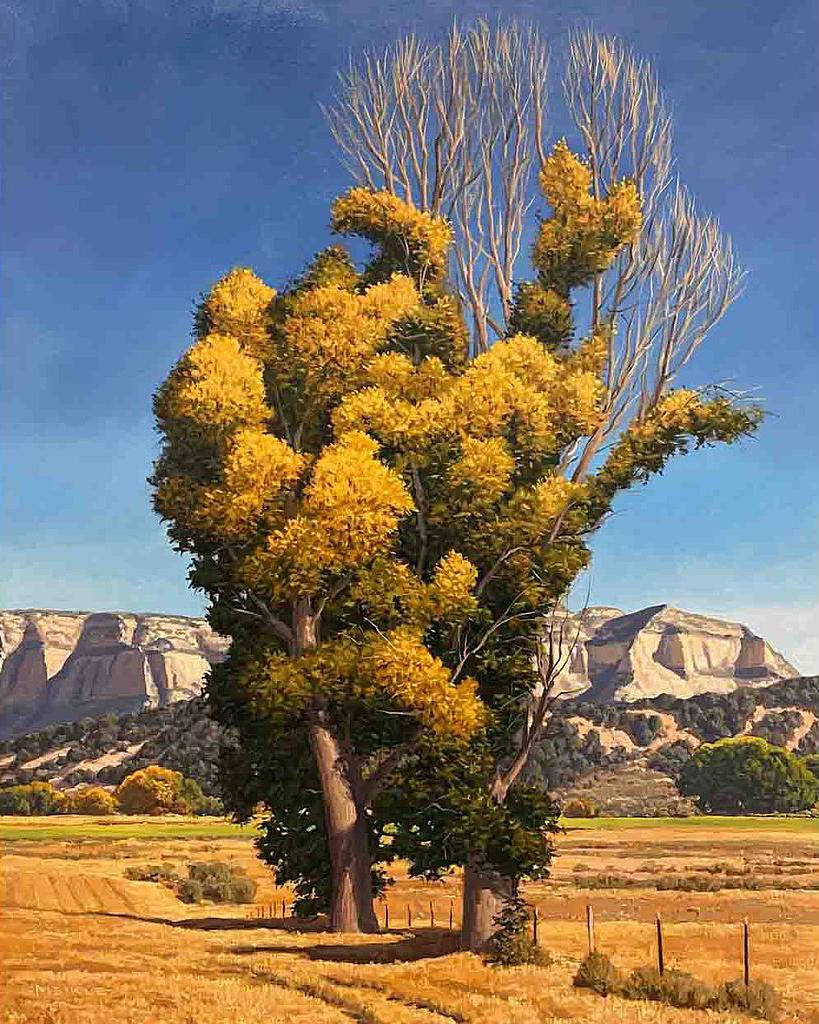 "David Meikle, October Cottonwoods, Oil, 30"" x 24"""