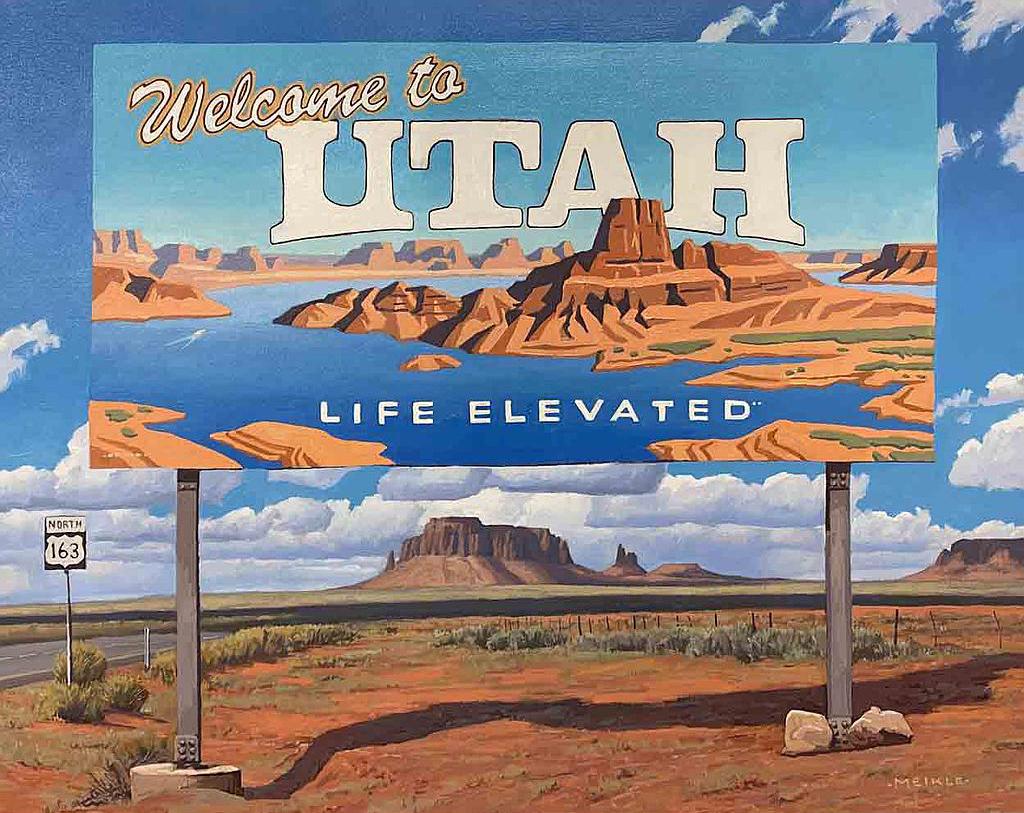 "David Meikle, Welcome to Utah, Oil, 24"" x 30"""