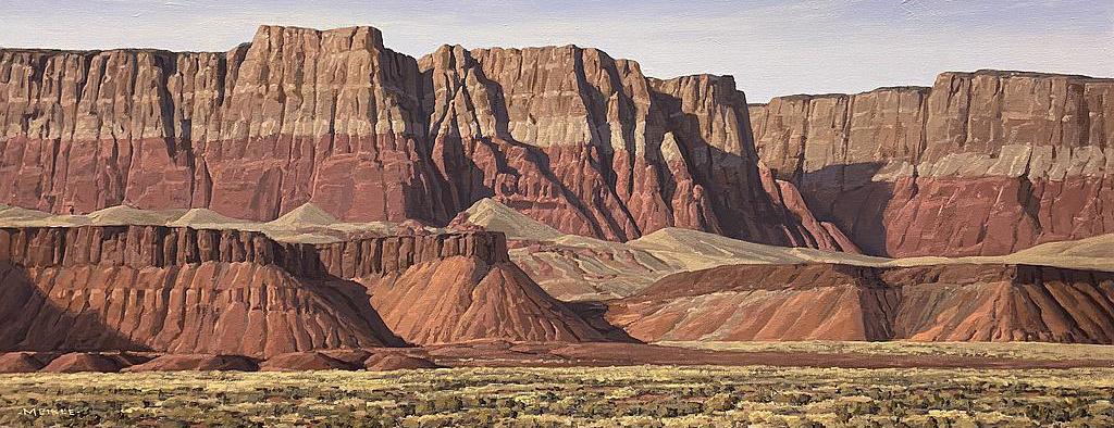 """David Meikle, Vermilion Cliffs, Oil, 16"""" x 40"""""""
