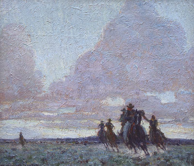 "William Herbert Dunton (1878-1936) The End of the Day, oil on canvas, c. 1915, 12"" x 16"""