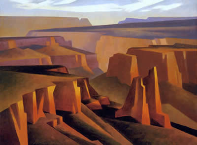 Ed Mell, Step Down Canyon, Oil on Linen, 18