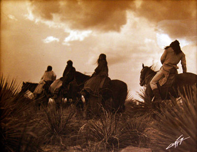 """Edward S. Curtis (1868-1952) Before the Storm - Apache, Orotone, 8"""" x 10"""""""