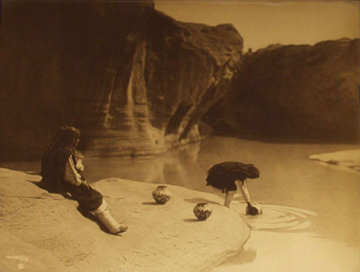 """Edward S. Curtis (1868-1952) At the Old Well of Acoma, Orotone, c. 1904, 10.5"""" x 13.5"""""""