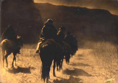 """Edward S. Curtis (1868-1952) Vanishing Race, Orotone, 8"""" x 10"""""""