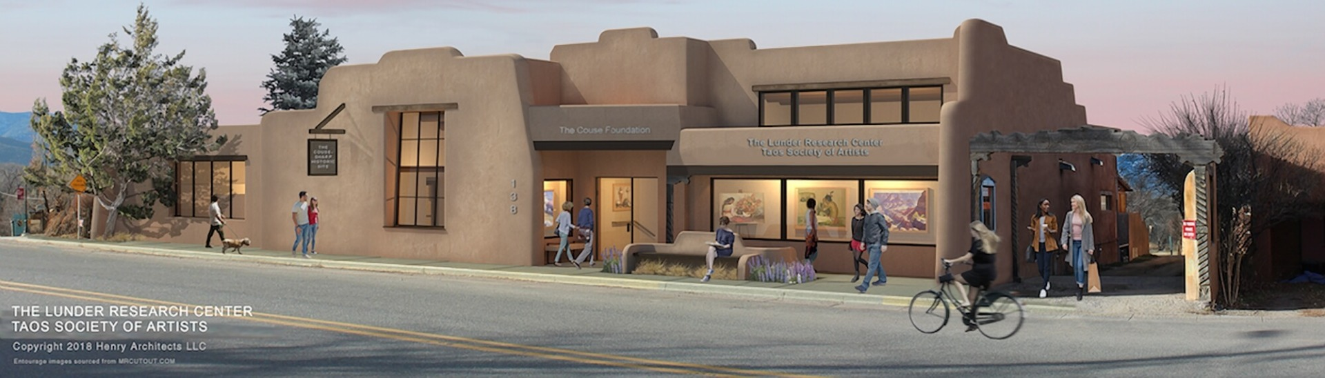 Architectural visualization of the Lunder Research Center at the Couse-Sharp Historic Site in Taos, NM