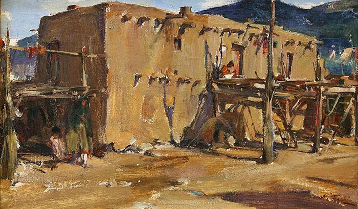 """Nicolai Fechin (1881-1955), Taos Pueblo House, oil on canvas, 19"""" x 31"""""""