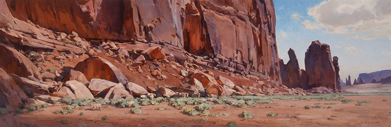 "Josh Elliott, Free to Roam, oil, 22""x66"""