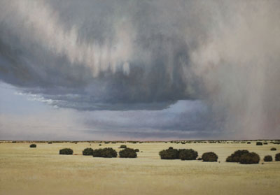 """Jeff Aeling, Hail Storm East of Cerrillos, New Mexico, Oil on Board, 34"""" x 48"""""""