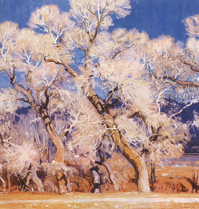 "E. Martin Hennings (1886-1956) The Cottonwoods, oil on canvas, 34.5"" x 34.5""  Courtesy the Taos Art Museum and Fechin House, Taos, NM"