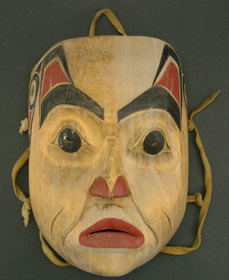 "Henry Green, Tsimshian Wooden Face Mask, c. 1970, 9.5"" x 6.75"""