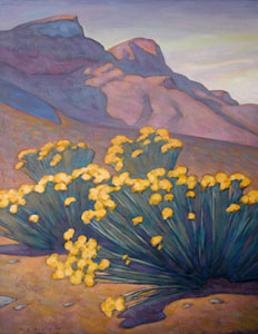 Howard Post, Hillside Chamisas, Oil on Canvas, 28