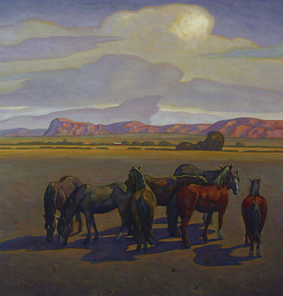Howard Post, Seven Mares, Oil on Canvas, 36