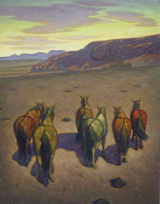 Howard Post, Six from the Remudas, Oil on Canvas, 60
