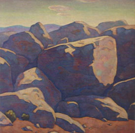 "Howard Post, Boulders Out West, oil, 24"" x 24"""