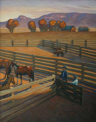 Howard Post, Leaving the Barn, Oil on Canvas, 44