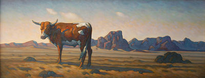 "Howard Post, Spotted Stray, Oil on Canvas, 24"" x 60"""