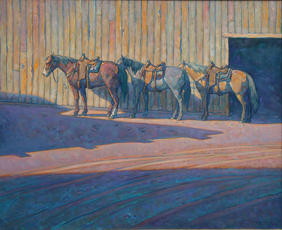 "Howard Post, Between Barns, Oil on Canvas, 36"" x 44"""