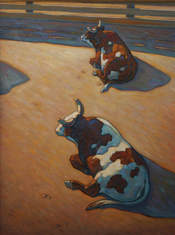 Howard Post, Sitting Bulls, Oil on Canvas, 40