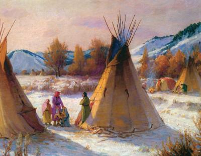"""J. H. Sharp, Cheyenne Camp, oil, 25"""" x 30"""" Courtesy Forrest Fenn"""