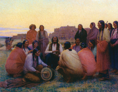 "J. H. Sharp, Evening Chant, oil, 29"" x 36"", Courtesy Phoebe Apperson Hearts Museum of Anthropology at the University of California"