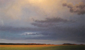 Jeff Aeling, Twilight, White Bluffs, New Mexico, Oil on Board, 48