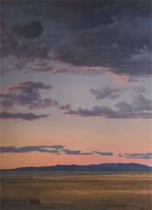 "Jeff Aeling, Sunset, San Cristobal, New Mexico, Oil on Panel, 72"" x 48"""