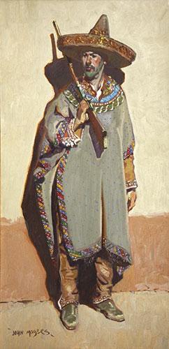 "John Moyers, The Maximilian Saltillo Serape, oil on canvas, 40 x 20"""