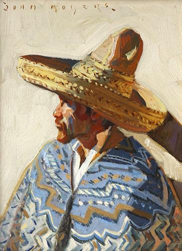 "John Moyers, Hombre, oil on panel, 30 x 15"""