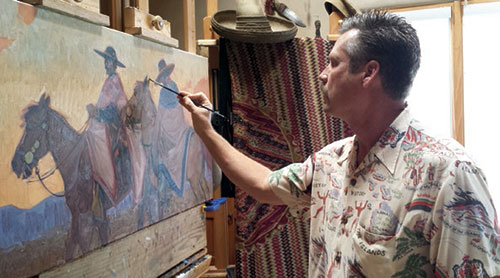 John Moyers developing his latest painting, titled Cochineal and Indigo, in his Santa Fe studio.