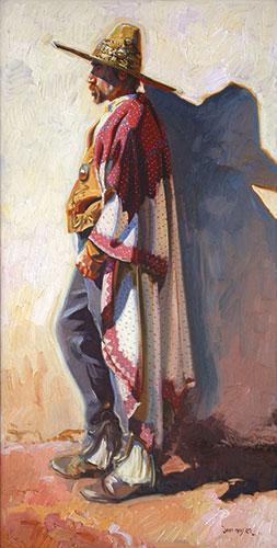 "John Moyers, Santa Barbara 1840, oil on canvas, 48 x 24""."