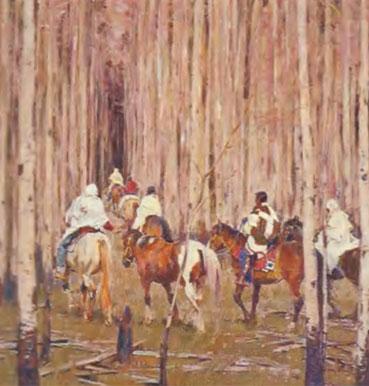 "John Moyers, Spring Pilgrimage - Taos, Oil on Canvas, 48"" x 48"""