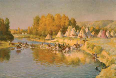 """J. H. Sharp, Camp on the Little Big Horn, oil, 27 x 40"""" PHOTO COURTESY COLLECTION NATIONAL MUSEUM OF FINE ARTS, WASHINGTON, D.C."""