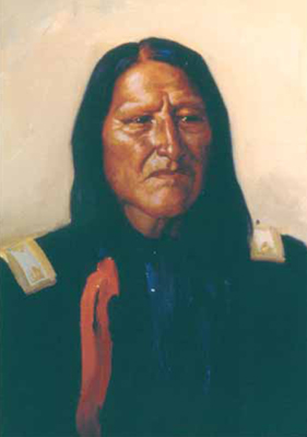 """J. H. Sharp, American Horse—Cheyenne Chief, oil, 14 x 10"""" PHOTO COURTESY COLLECTION OF THE PHOEBE APPERSON HEARST MUSEUM OF ANTHROPOLOGY AND THE REGENTS OF THE UNIVERSITY OF CALIFORNIA"""