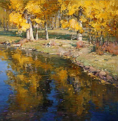 "Josh Elliott, Floating Gold, Oil on Canvas, 20"" x 20"""