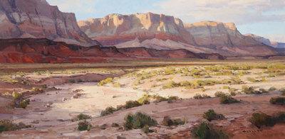 "Josh Elliott, Evening Shadows, Oil on Panel, 15"" x 30"""