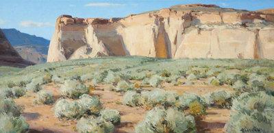 """Josh Elliott, Home of the Horned Lizard Oil on Panel, 15"""" x 30"""""""