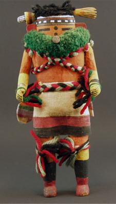 """Zuni Nahalish Corn Dancer, circa 1930, 9"""" x 3"""" x 2.5"""""""