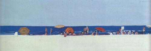 "Gregory Kondos, Long Beach, 1965, oil on canvas, 13""x41"""
