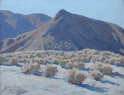 "Maynard Dixon, Lone Pine, California, (c. 1919), oil on canvas board, 15 1/2 x 20"""