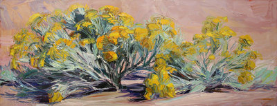 """Louisa McElwain, Chamisa, Arroyo Seco, Oil on Canvas, 28"""" x 68"""""""