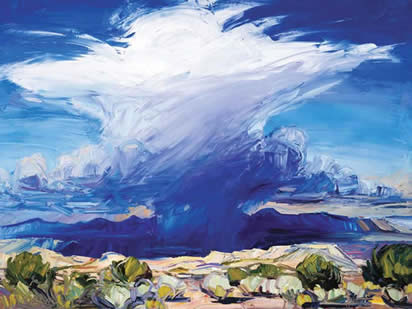Louisa McElwain, Desert Rain God, Oil on Canvas, 54