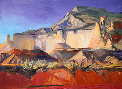 """Louisa McElwain, Red Draw, Shining Stone, Oil on Canvas, 54"""" x 72"""""""
