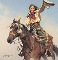 "Terri Kelly Moyers, Yippy Yi Yea, oil, 40"" by 38"""