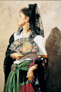 "Terri Kelly Moyers, Spanish Heritage, oil, 44"" by 30"""