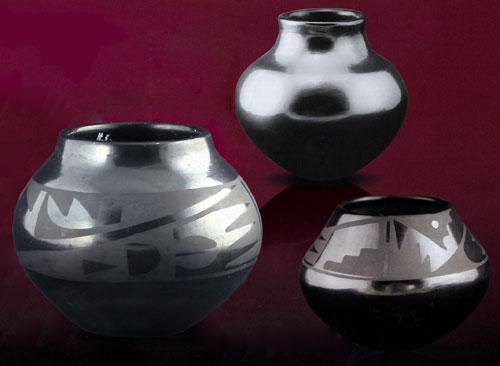 "Left: Marie and Julian Black on Black Design Pot, c. 1930, 4"" x 4""  Top: Maria Poveka Pot, c. 1969, 4.75"" x 5""  Right: Maria and Santana Black on Black Geometric Pot, c. 1940, 4"" x 6"""