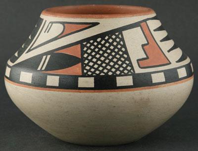 "Maria and Popovi Polychrome Pot, c. 1960, 5"" x 7.25"""