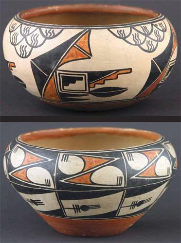 "Pair of Maria Martinez Polychrome Pots, circa 1915-20, 3.5"" x 6"""