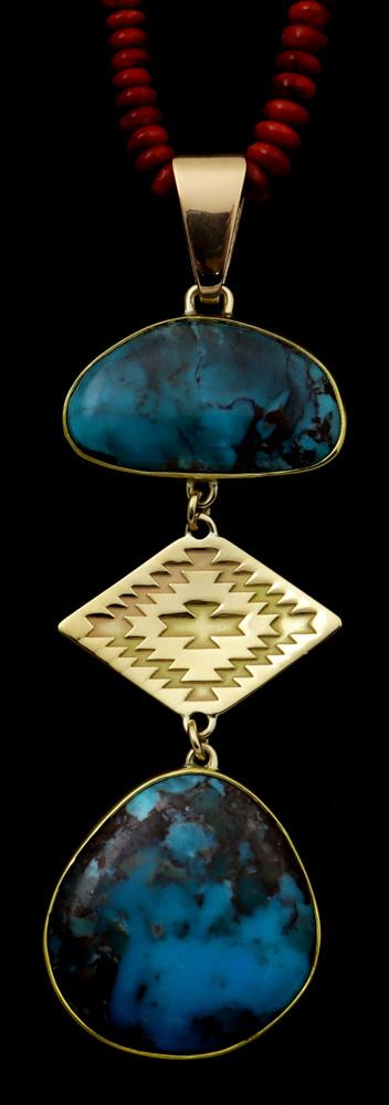 Necklace with Bisbee turquoise and spiny oyster, 22K gold bezel, 18K gold emblem, 18K gold bale, sterling silver back